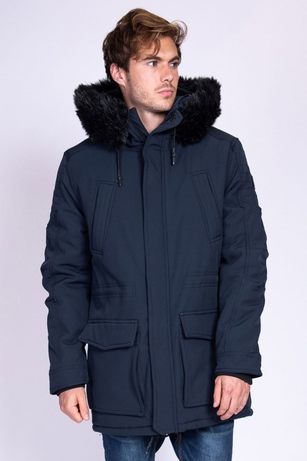 Hooded long parka LARRYM Navy