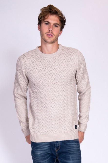 Pull col rond SACKS Beige...