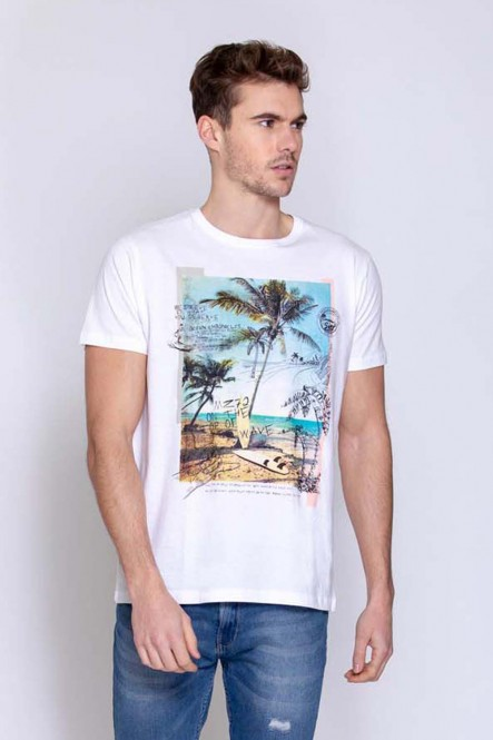 Printed t-shirt THEDRAW White