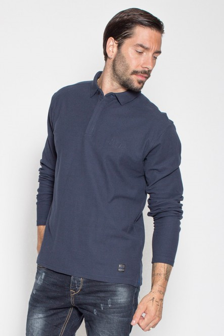 Long sleeves polo in cotton...