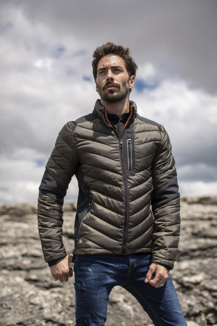 Bimaterial padded jacket...