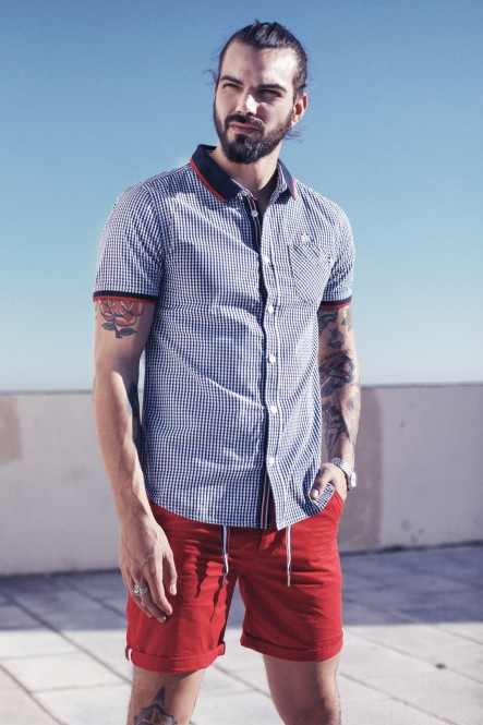 Gingham short-sleeve shirt...