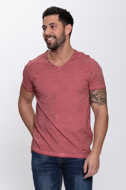 V neck cold dyed short...