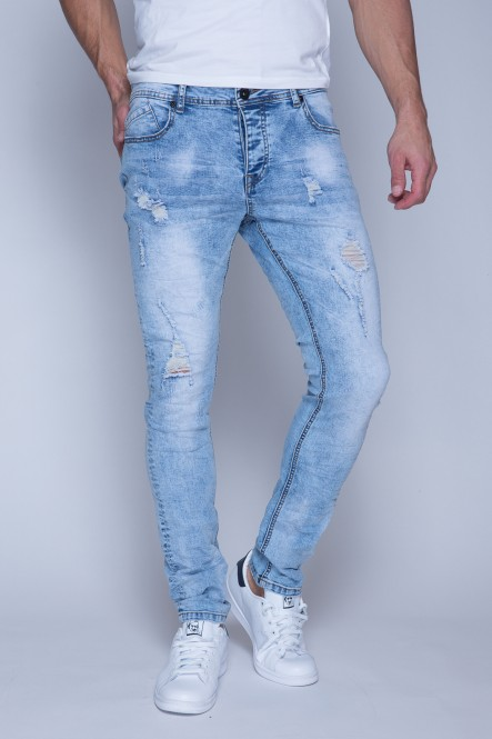 Jean stretch snow wash bleu...