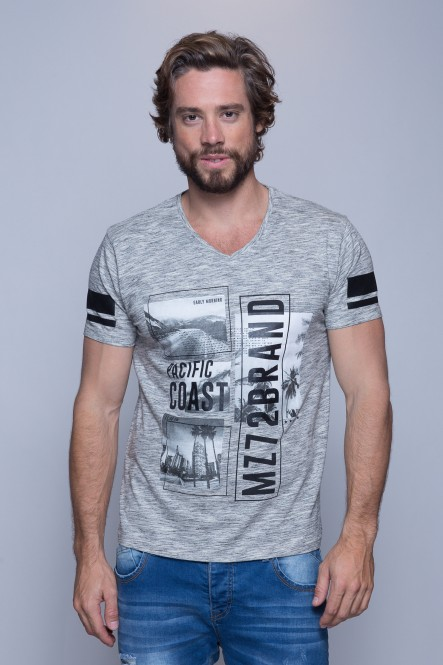 Printed V neck injected...