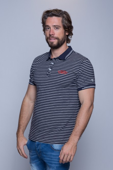 Striped short sleeves polo...