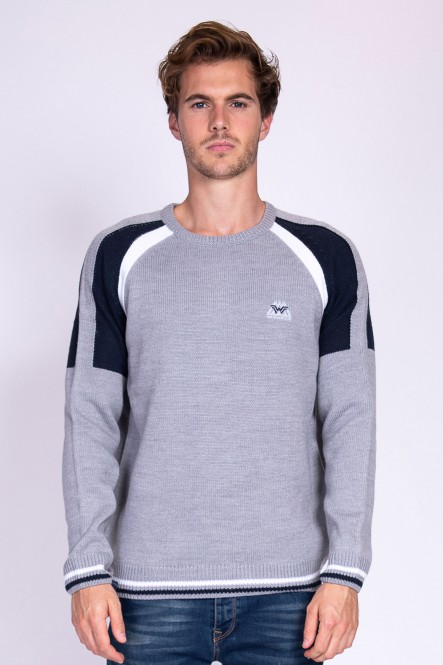 Pull SYSS Gris chiné-Marine